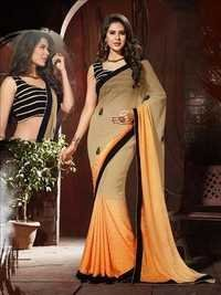 Orange and Beige Heavy Designer Saree