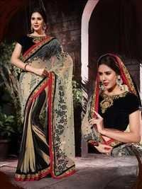 Beige and Black Georgette Designer Saree