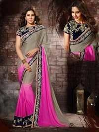 Pink and Grey Chiffon Designer Saree