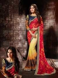 Multicolored Pure Georgette Designer Saree