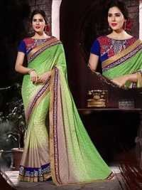 Green and Gray Satin Jacquard Designer Saree