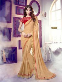 Beige Georgette Stylish Saree