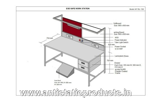Industrial ESD Workstation Table