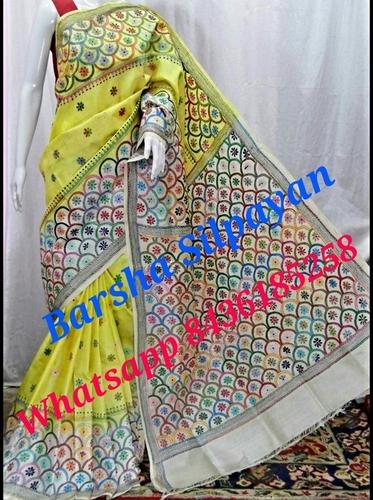 Tussar Silk Dye Kantha Stitched Saree