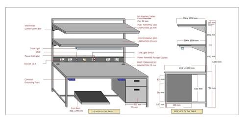 Electrostatic dissipative workstation Table