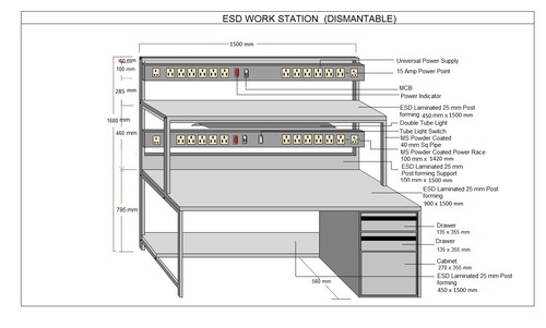 Electrostatic dissipative work bench