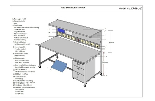 Electrostatic dissipative (ESD) Workstation