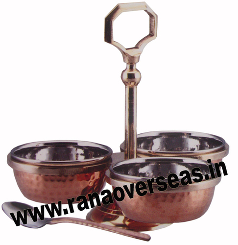 Brass Steel Copper Hammered Pickle Set