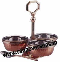 Brass Steel Copper Hammered Pickle Set