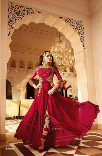 Red Stylish Anarkali Suit