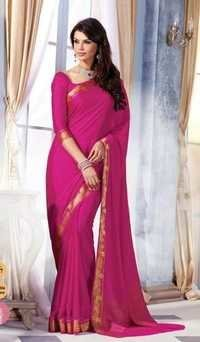 Dark Pink Royal Crape Designer Saree