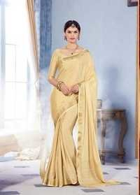 Cream Royal Crape Designer Saree