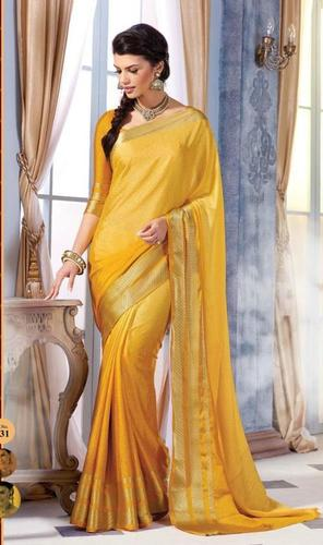 Yellow Royal Jacquard Crape Designer Saree