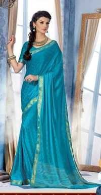 Sky Blue Royal Jacquard Crape Designer Saree