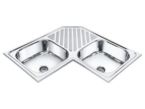 Corner Double Bowl Sink with Tray