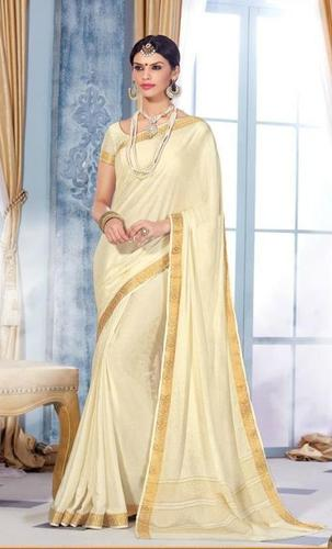 Off White Royal Jacquard Crape Designer Saree
