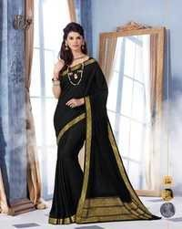 Black Royal Jacquard Crape Designer Saree