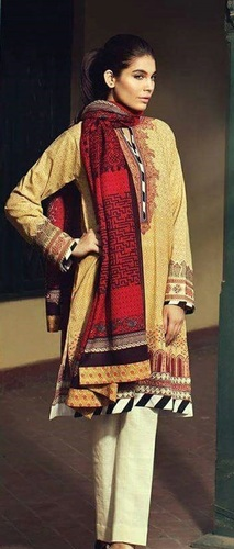 Yellow Lovely Casual Wear Pashmina Suit