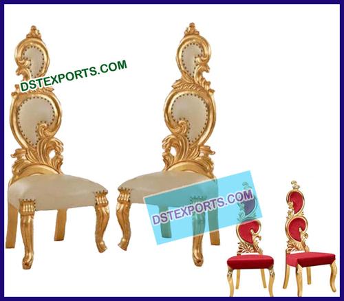 Royal Wedding Gold Bride Groom Leaf Chairs