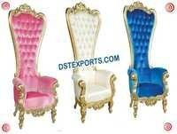 Royal Wedding Gold Metal High Back Designer Chair