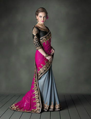 Pink And Grey Faux Georgette Heavy Designer Saree