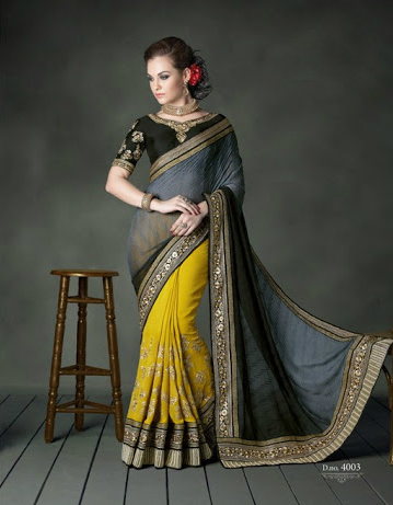Yellow And Grey Faux Georgette Designer Saree