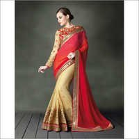 Red and Beige Georgette Designer Saree