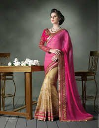 Pink and Cream Chiffon Heavy Designer Saree