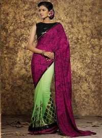 Purple Georgette Straight Saree
