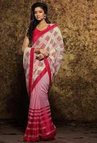 Pink And White Georgette Straight Normal Saree