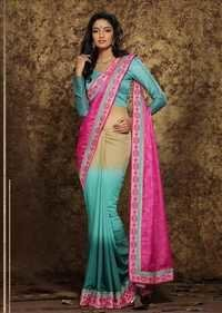 Multicolored Georgette Straight Partywear Saree