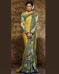 Multicolored Georgette Saree With Art Silk Blouse