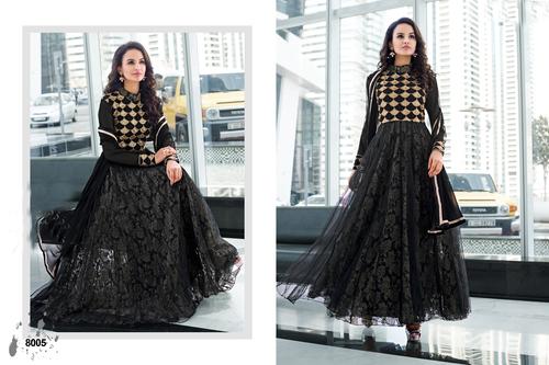 Designer Black Long Sleeve Anarkali Suit