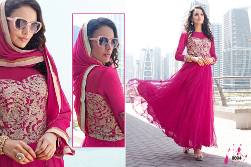 Designer Dark Pink Long Sleeve Anarkali Suit