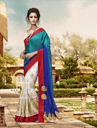 Blue And Red Georgette Straight Festival Saree