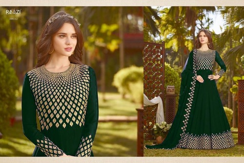 Designer Light Green Long Sleeve Anarkali Suit