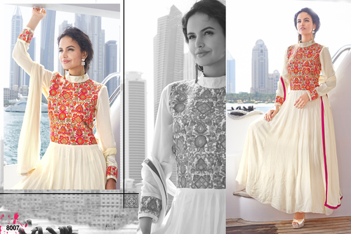 Off White Long Sleeve Anarkali Suit