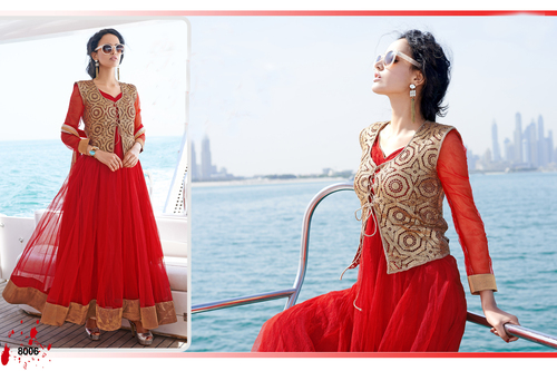 Designer Red Long Sleeve Anarkali Suit