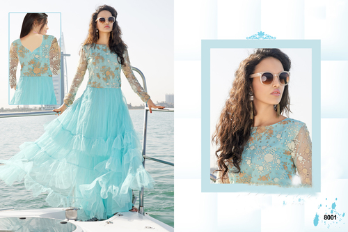 Sky Blue Long Sleeve Anarkali Suit