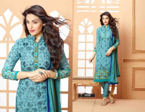 Designer Blue Straight Suit