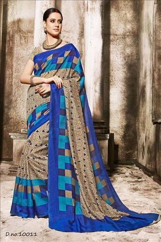 Multicolored Georgette Straight Printed Saree