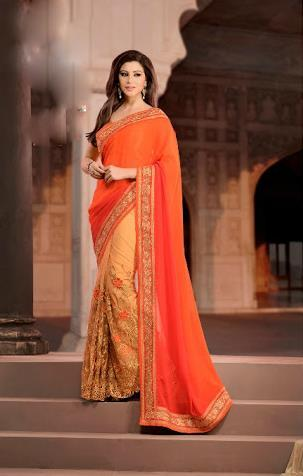 Orange Half Georgette Saree