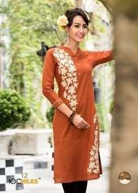 Orange Cotton Embroidered Style Kurti