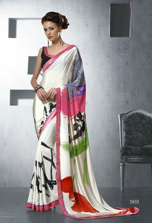 Multicolored Silk Crape Saree