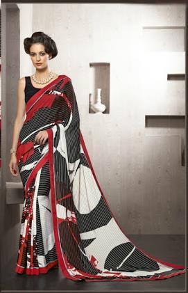 Multicolored Crepe Silk Partywear Saree