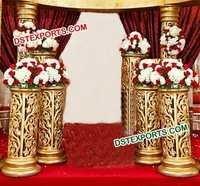 Indian Wedding Golden Fiber Pillars