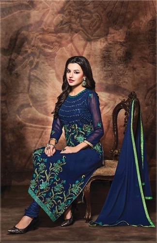 Blue Lovely Georgette Salwar Suit
