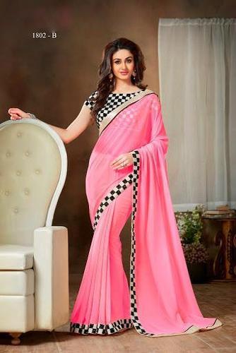 Pink Georgette Partywear Saree