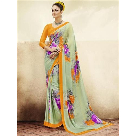 Multicolored georgette partywear saree