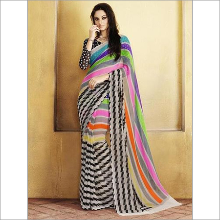 Multicolored Georgette Printed Saree
